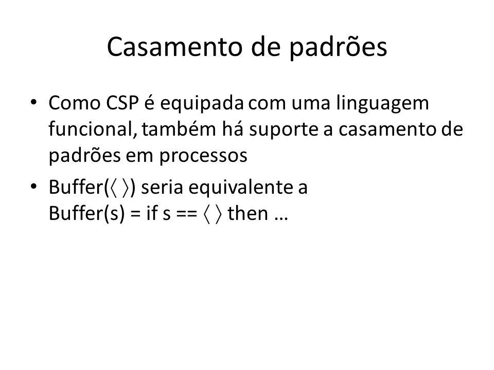 Casamento de padrões Como CSP é equipada com uma linguagem funcional, também há suporte a casamento de padrões em processos.