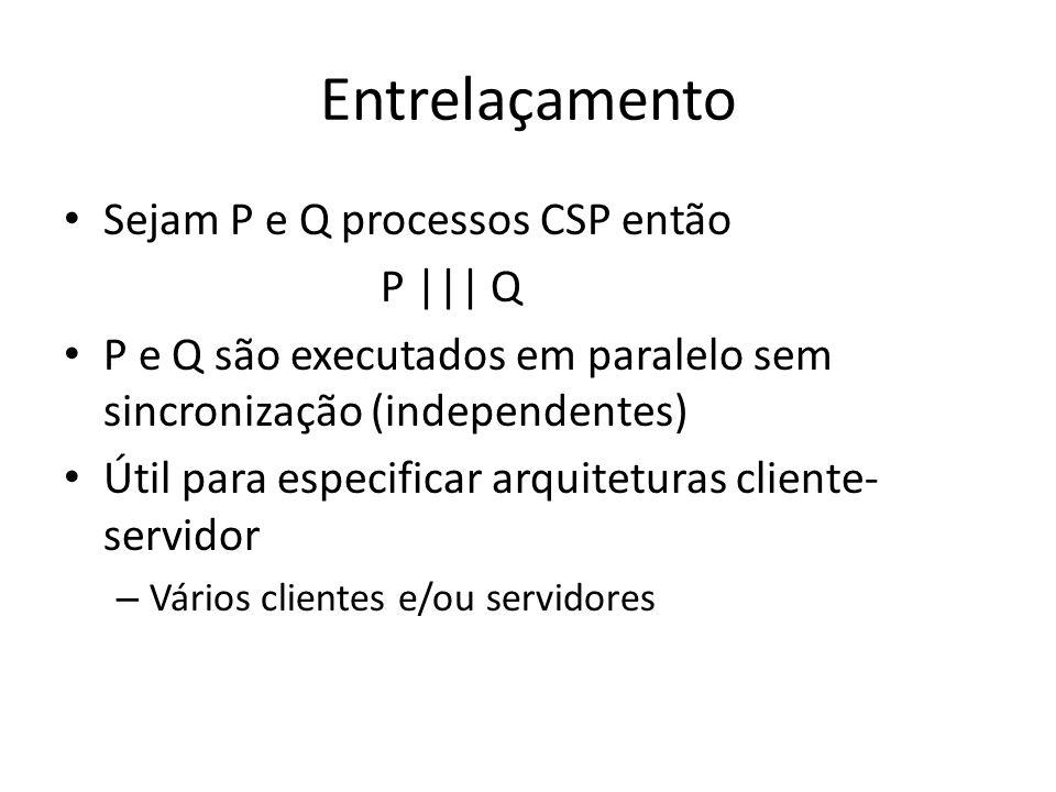 Entrelaçamento Sejam P e Q processos CSP então P     Q