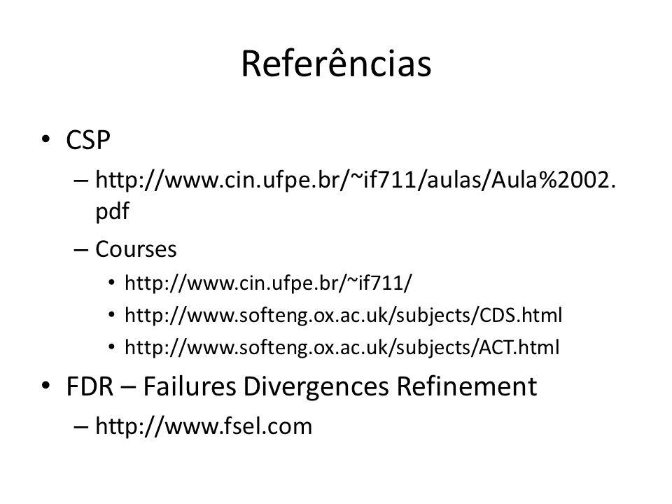 Referências CSP FDR – Failures Divergences Refinement