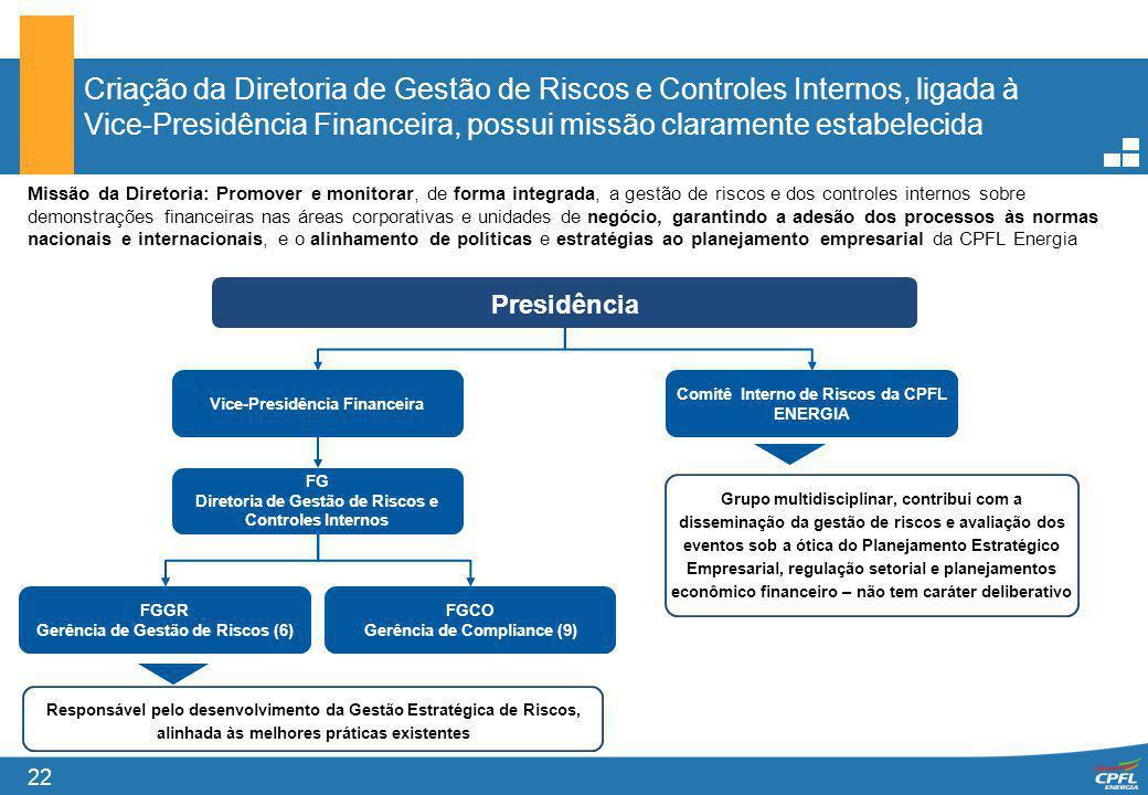 Criação da Diretoria de Gestão de Riscos e Controles Internos, ligada à Vice-Presidência Financeira, possui missão claramente estabelecida