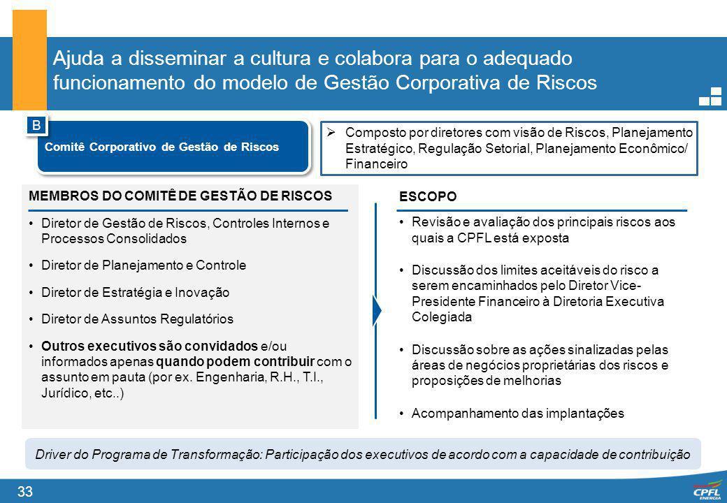 Ajuda a disseminar a cultura e colabora para o adequado funcionamento do modelo de Gestão Corporativa de Riscos