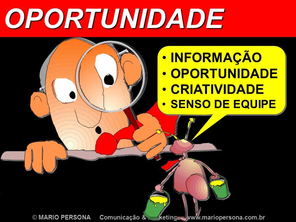 OPORTUNIDADE INFORMAÇÃO OPORTUNIDADE CRIATIVIDADE SENSO DE EQUIPE