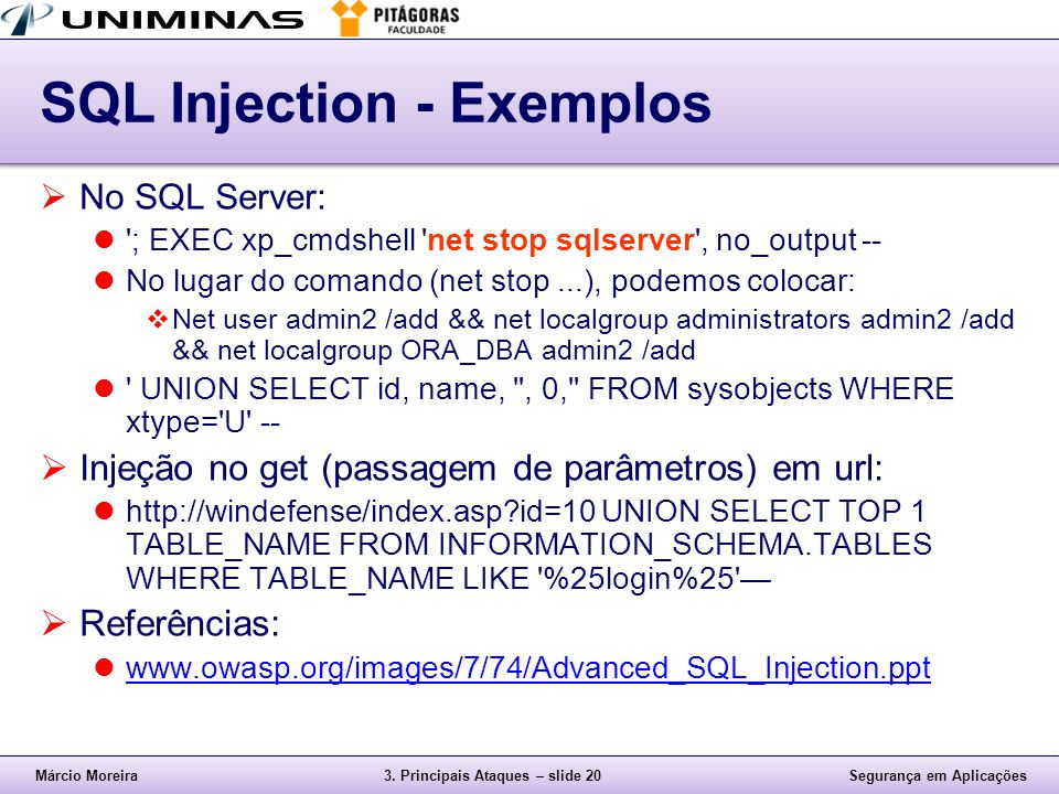 SQL Injection - Exemplos