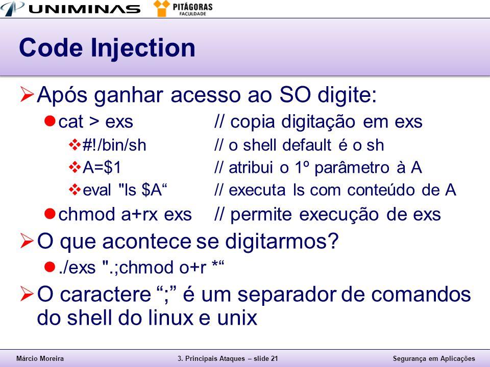Code Injection Após ganhar acesso ao SO digite:
