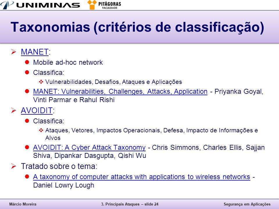 Taxonomias (critérios de classificação)