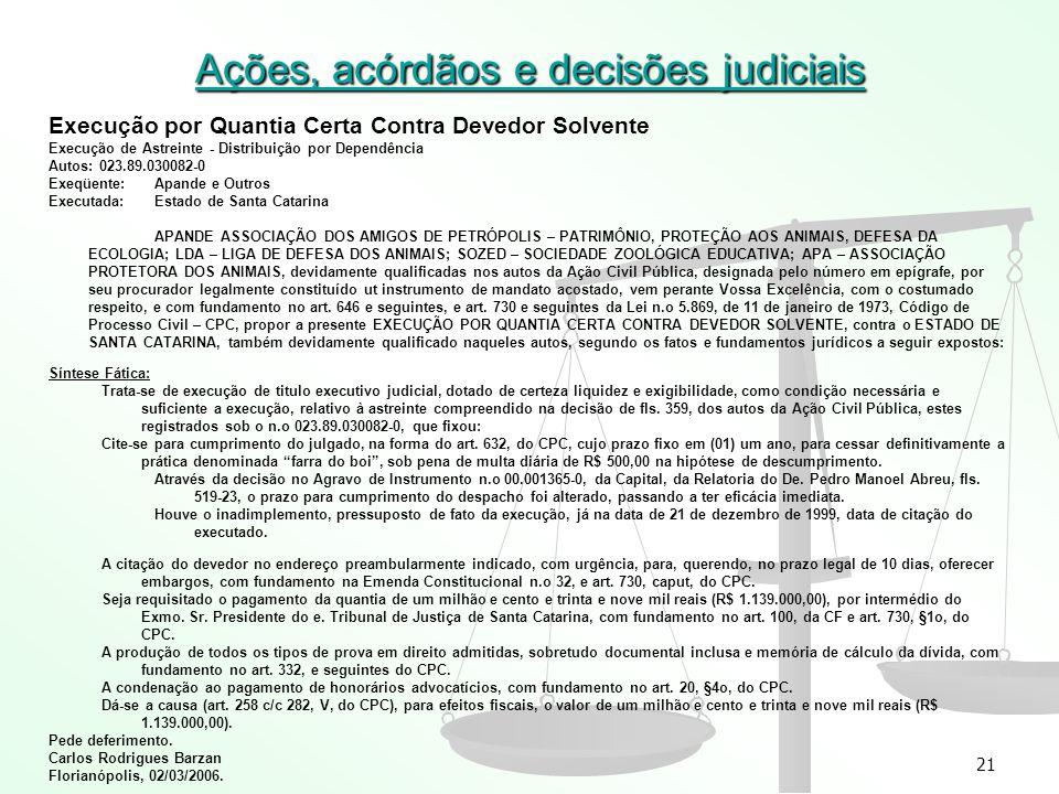 Ações, acórdãos e decisões judiciais