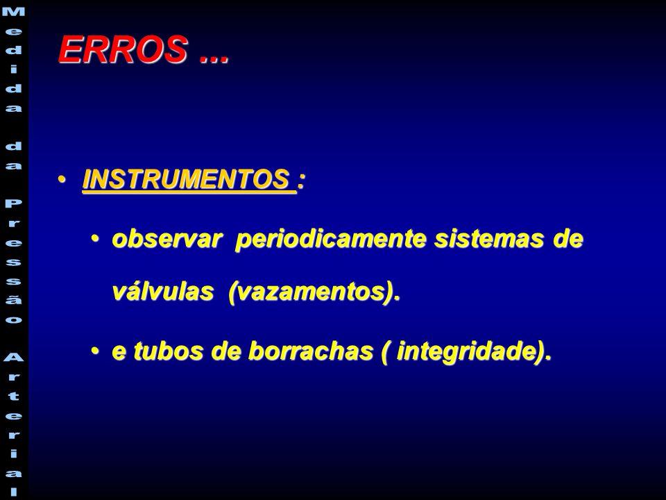 ERROS ... INSTRUMENTOS : observar periodicamente sistemas de válvulas (vazamentos).