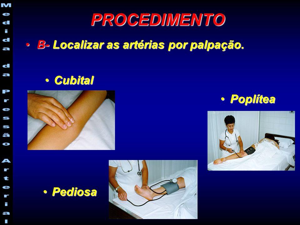 PROCEDIMENTO B- Localizar as artérias por palpação. Cubital Poplítea