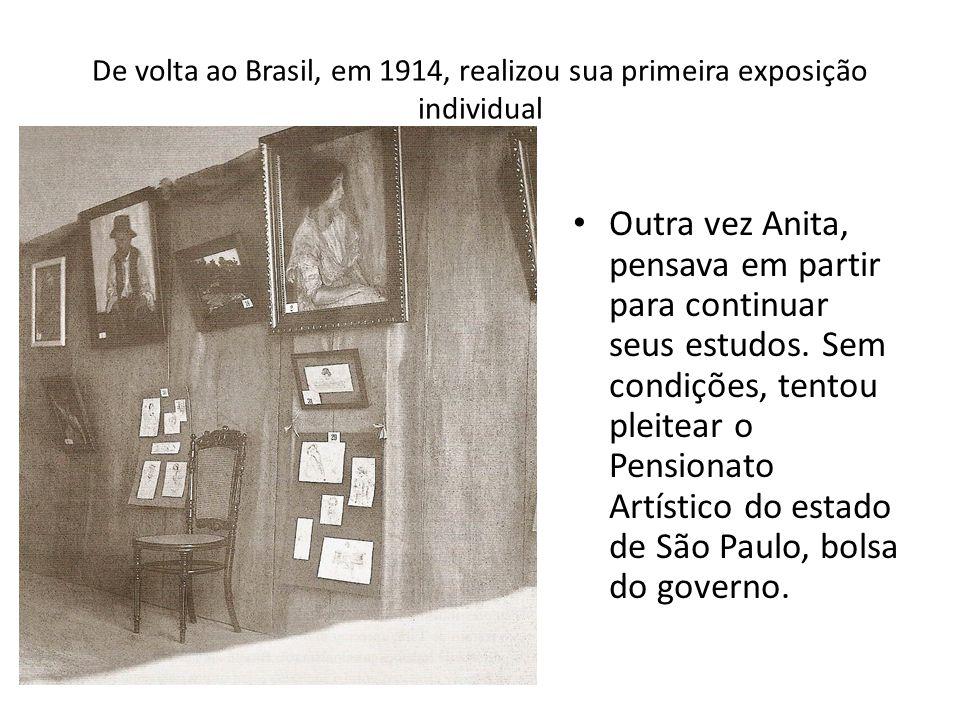 De volta ao Brasil, em 1914, realizou sua primeira exposição individual