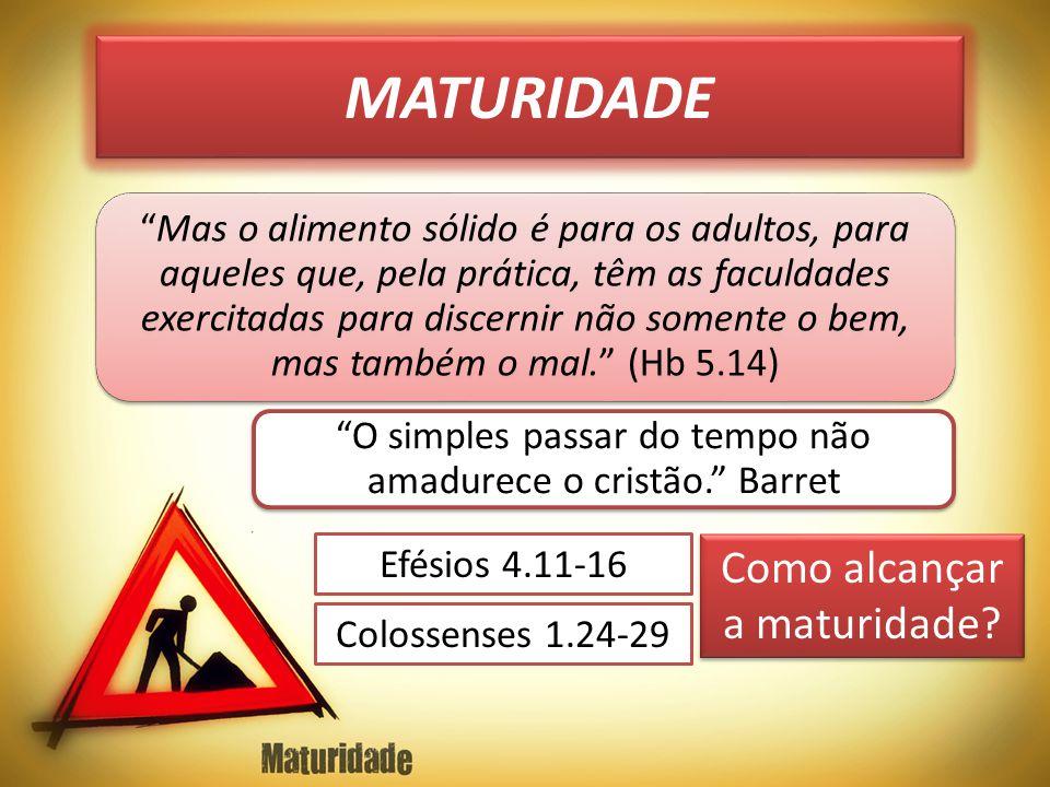 MATURIDADE Como alcançar a maturidade