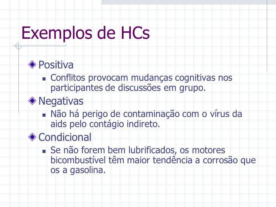 Exemplos de HCs Positiva Negativas Condicional