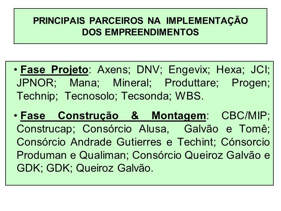 PRINCIPAIS PARCEIROS NA IMPLEMENTAÇÃO DOS EMPREENDIMENTOS
