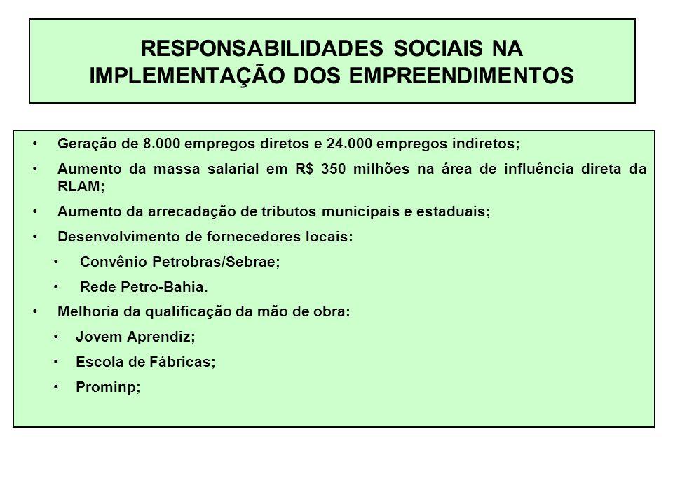 RESPONSABILIDADES SOCIAIS NA IMPLEMENTAÇÃO DOS EMPREENDIMENTOS