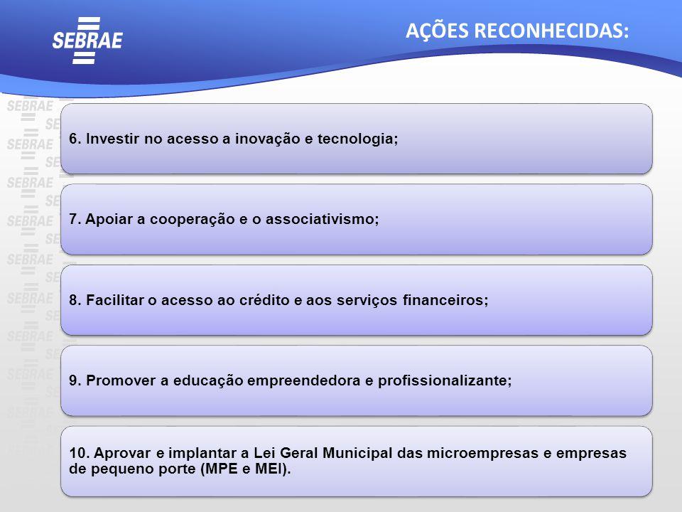 AÇÕES RECONHECIDAS: 6. Investir no acesso a inovação e tecnologia; 7. Apoiar a cooperação e o associativismo;