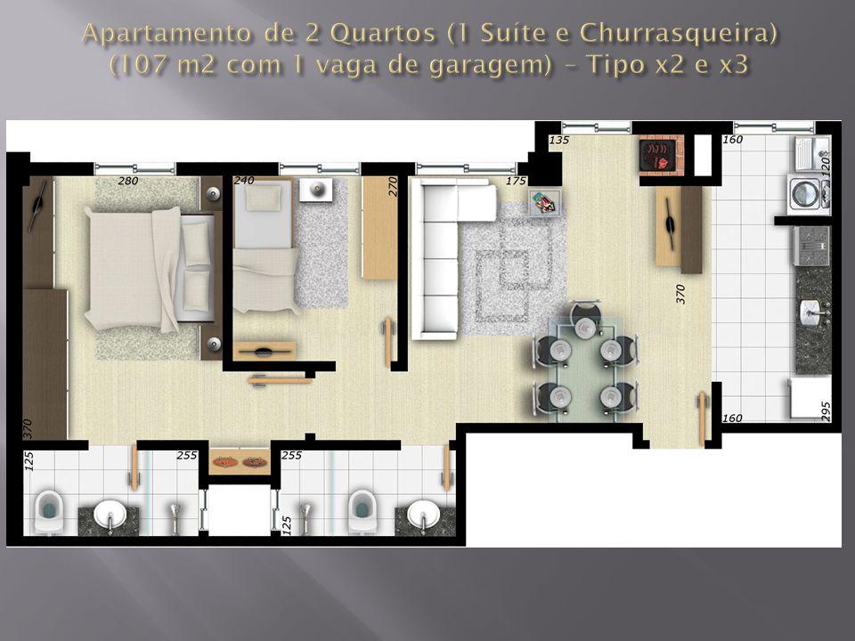 Apartamento de 2 Quartos (1 Suíte e Churrasqueira) (107 m2 com 1 vaga de garagem) – Tipo x2 e x3