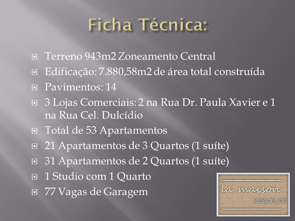Ficha Técnica: Terreno 943m2 Zoneamento Central