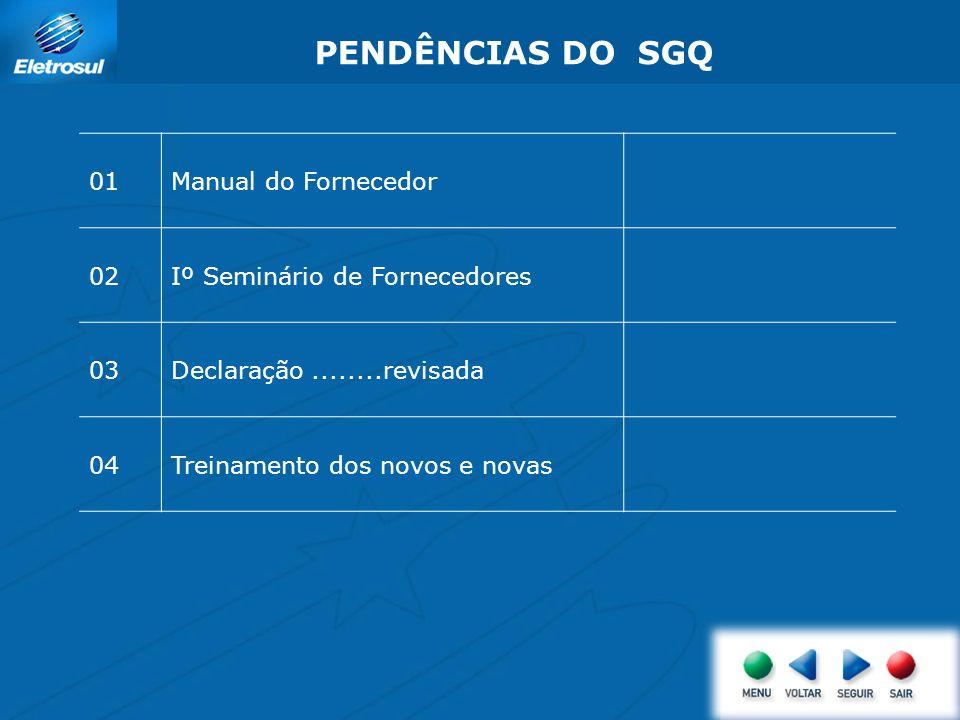 PENDÊNCIAS DO SGQ 01 Manual do Fornecedor 02