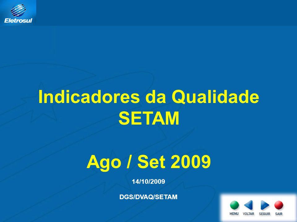 Indicadores da Qualidade SETAM Ago / Set 2009