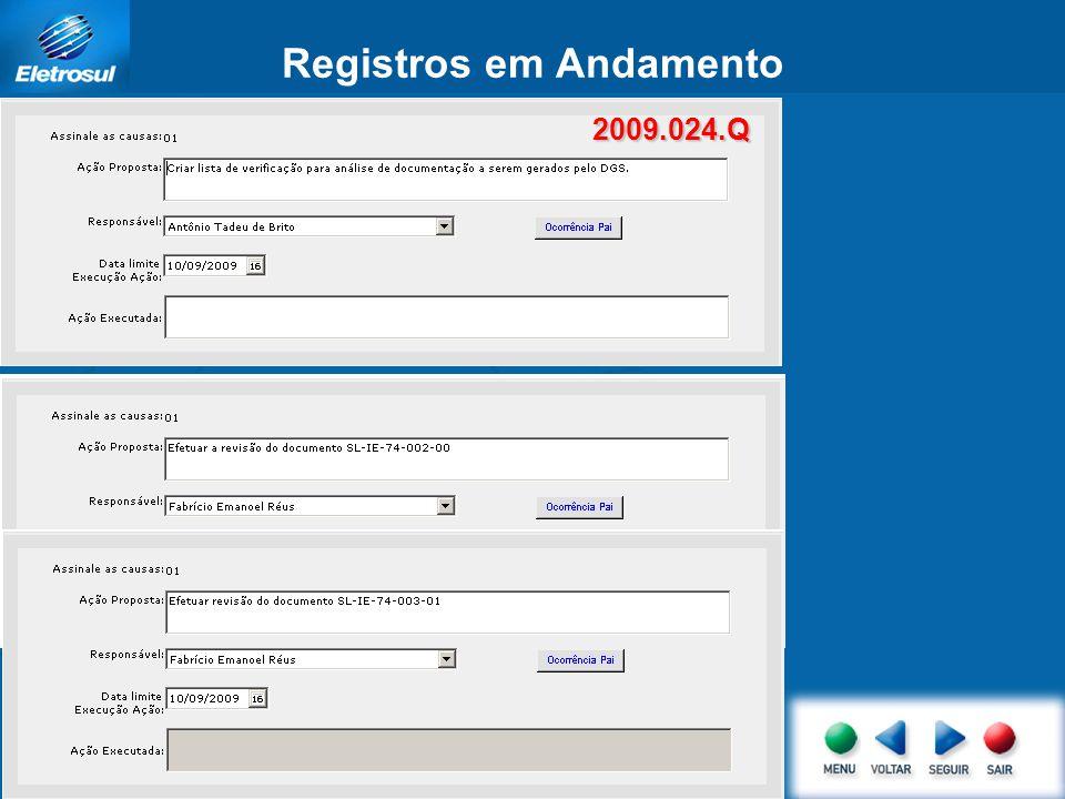 Registros em Andamento