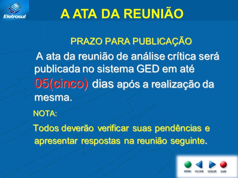 A ATA DA REUNIÃO PRAZO PARA PUBLICAÇÃO