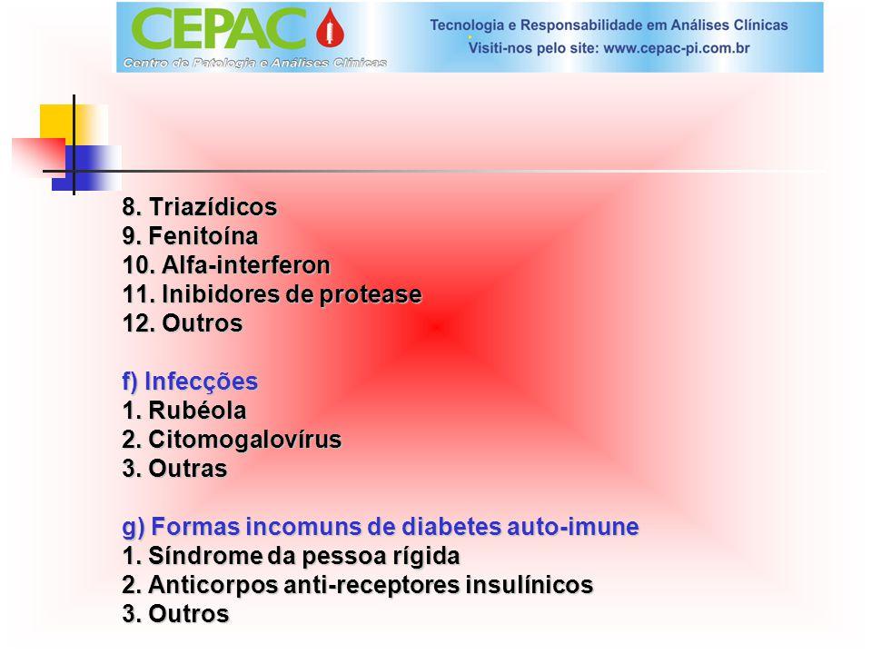 8. Triazídicos 9. Fenitoína. 10. Alfa-interferon. 11. Inibidores de protease. 12. Outros. f) Infecções.