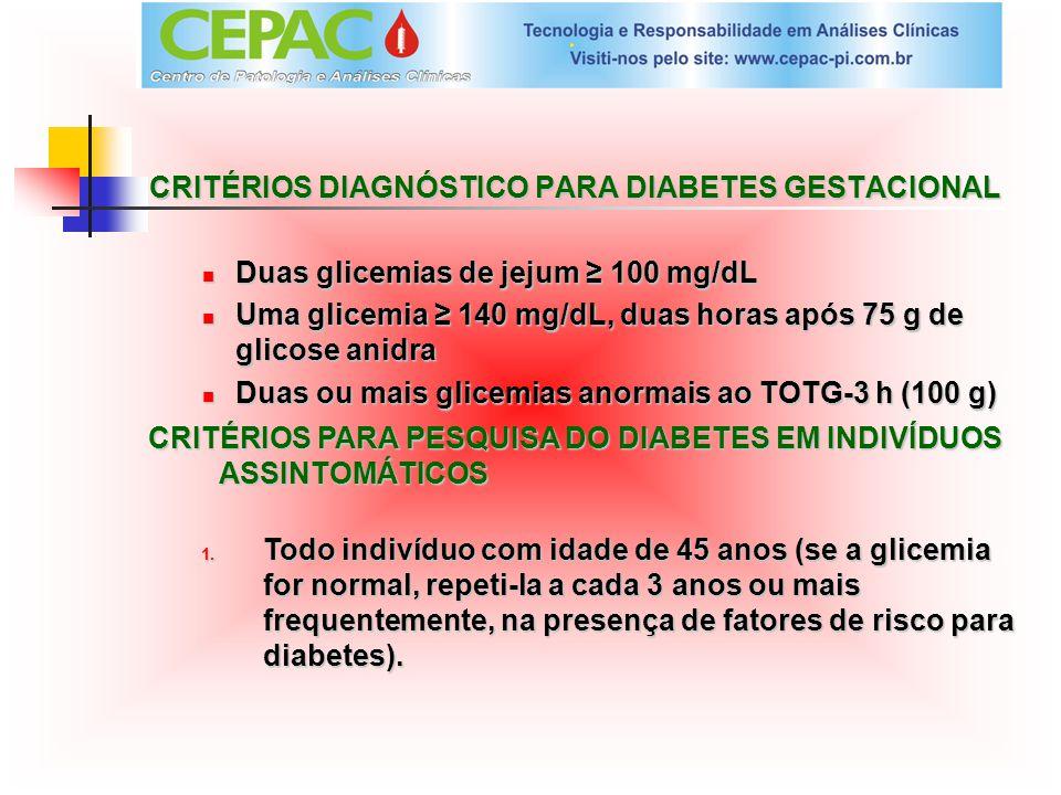 CRITÉRIOS DIAGNÓSTICO PARA DIABETES GESTACIONAL