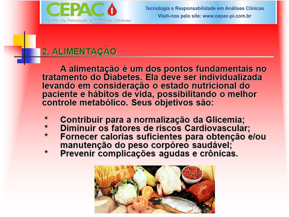 2. ALIMENTAÇÃO A alimentação é um dos pontos fundamentais no tratamento do Diabetes.