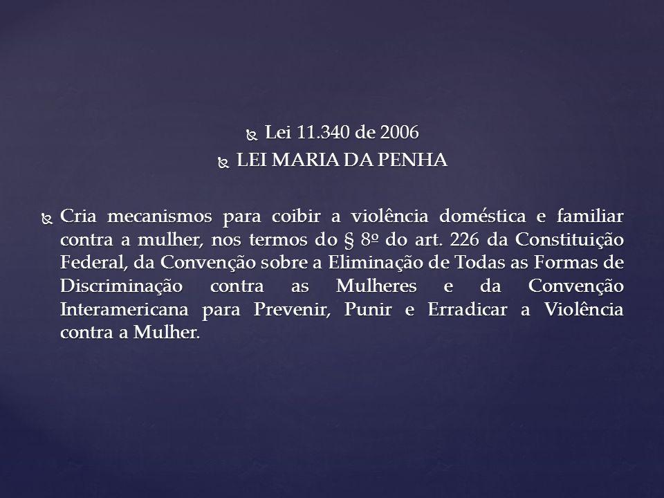 Lei 11.340 de 2006 LEI MARIA DA PENHA.