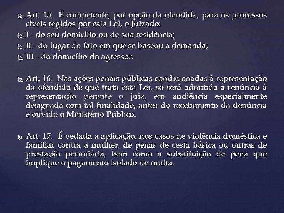 Art. 15. É competente, por opção da ofendida, para os processos cíveis regidos por esta Lei, o Juizado: