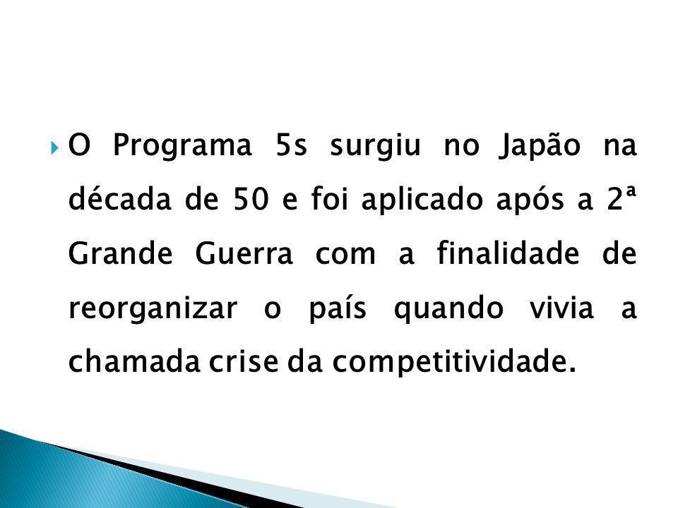 O Programa 5s surgiu no Japão na década de 50 e foi aplicado após a 2ª Grande Guerra com a finalidade de reorganizar o país quando vivia a chamada crise da competitividade.