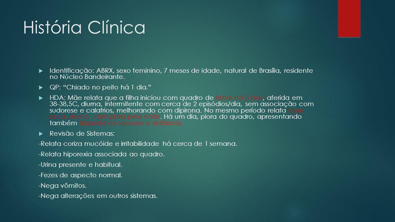 História Clínica Identificação: ABRX, sexo feminino, 7 meses de idade, natural de Brasília, residente no Núcleo Bandeirante.