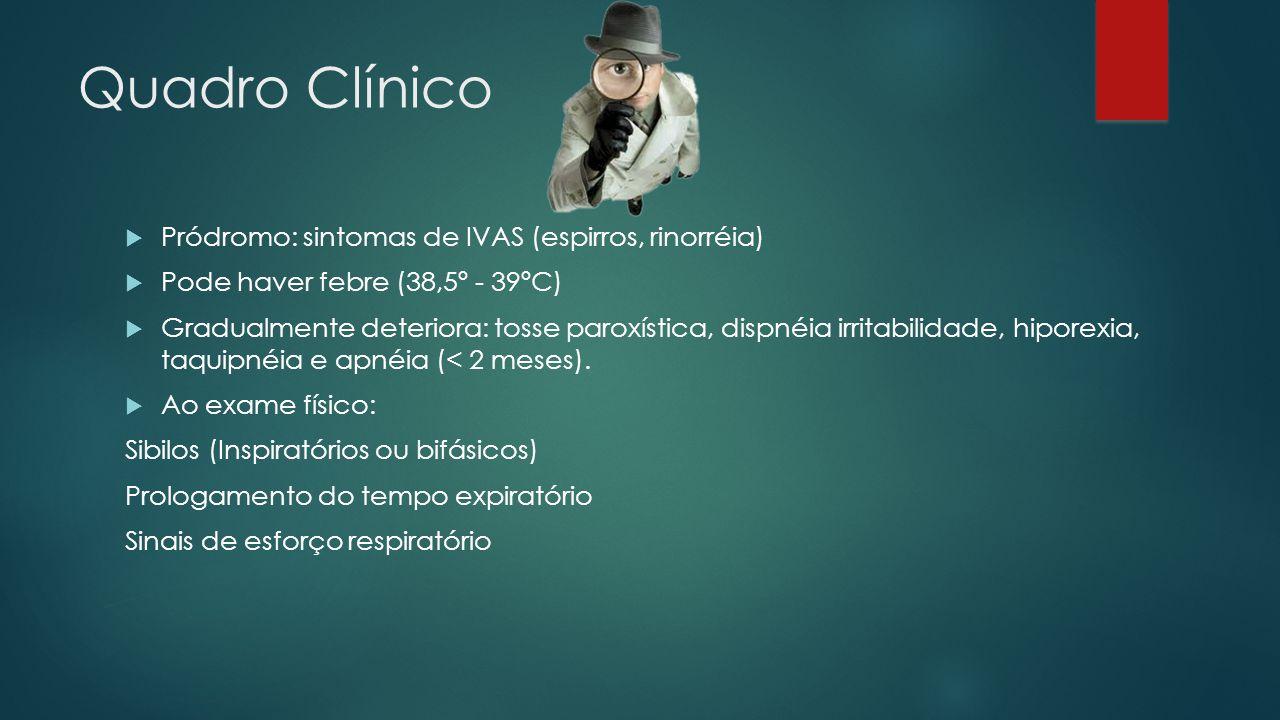 Quadro Clínico Pródromo: sintomas de IVAS (espirros, rinorréia)