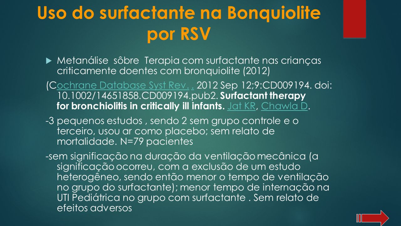 Uso do surfactante na Bonquiolite por RSV