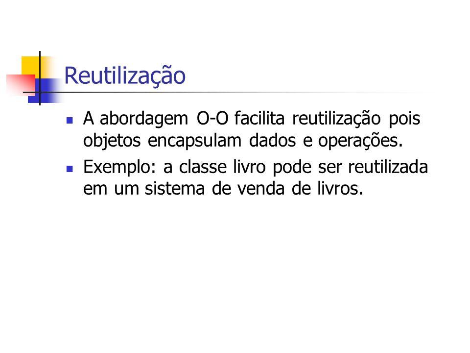 Reutilização A abordagem O-O facilita reutilização pois objetos encapsulam dados e operações.