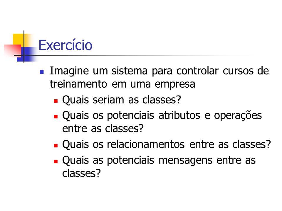Exercício Imagine um sistema para controlar cursos de treinamento em uma empresa. Quais seriam as classes