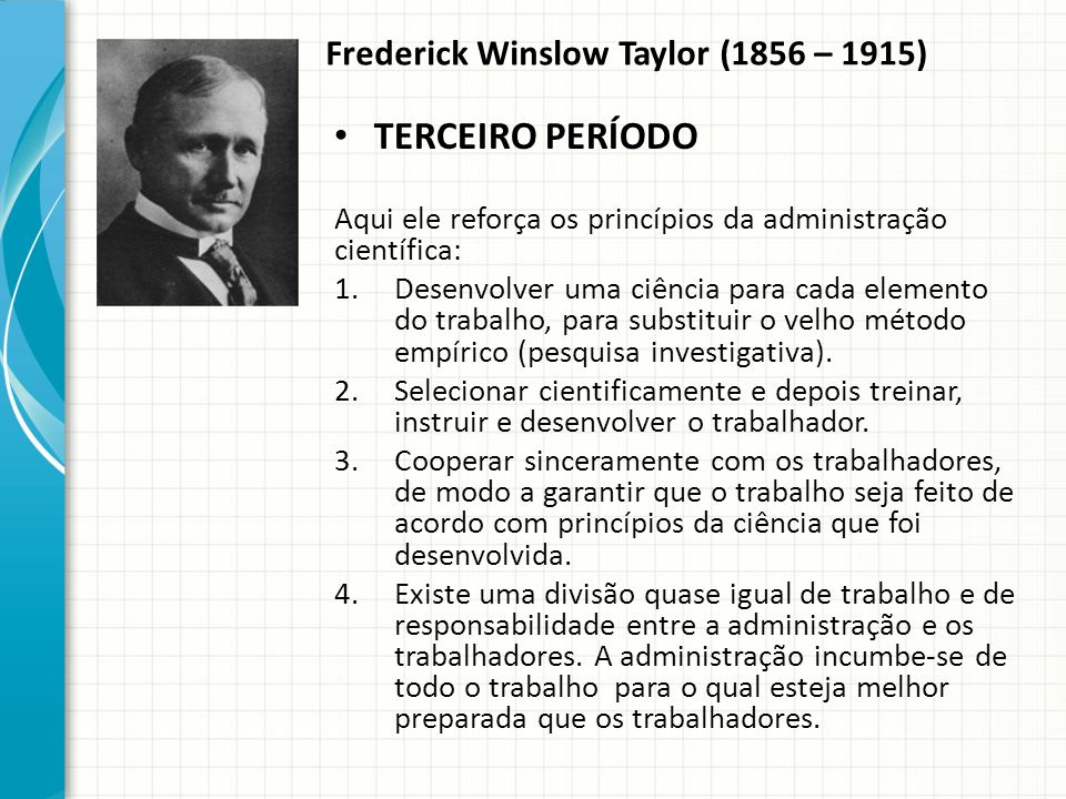 Frederick Winslow Taylor (1856 – 1915)