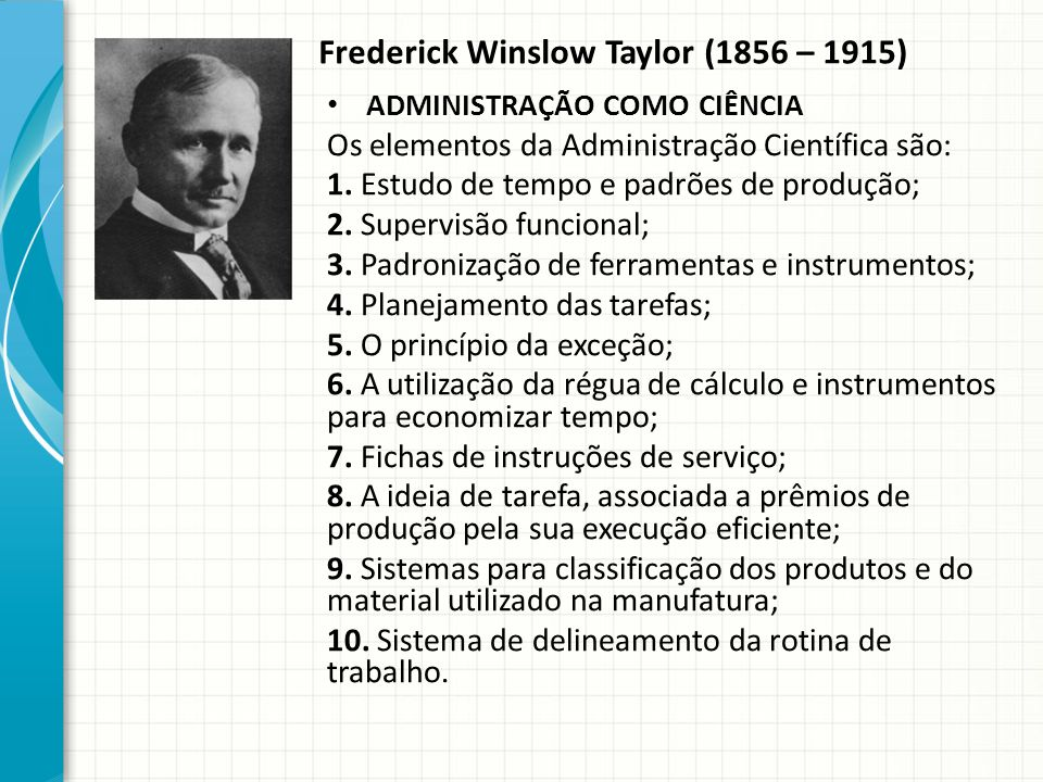 Frederick Winslow Taylor (1856 – 1915)