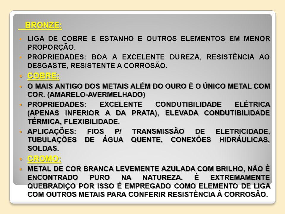 BRONZE: LIGA DE COBRE E ESTANHO E OUTROS ELEMENTOS EM MENOR PROPORÇÃO.