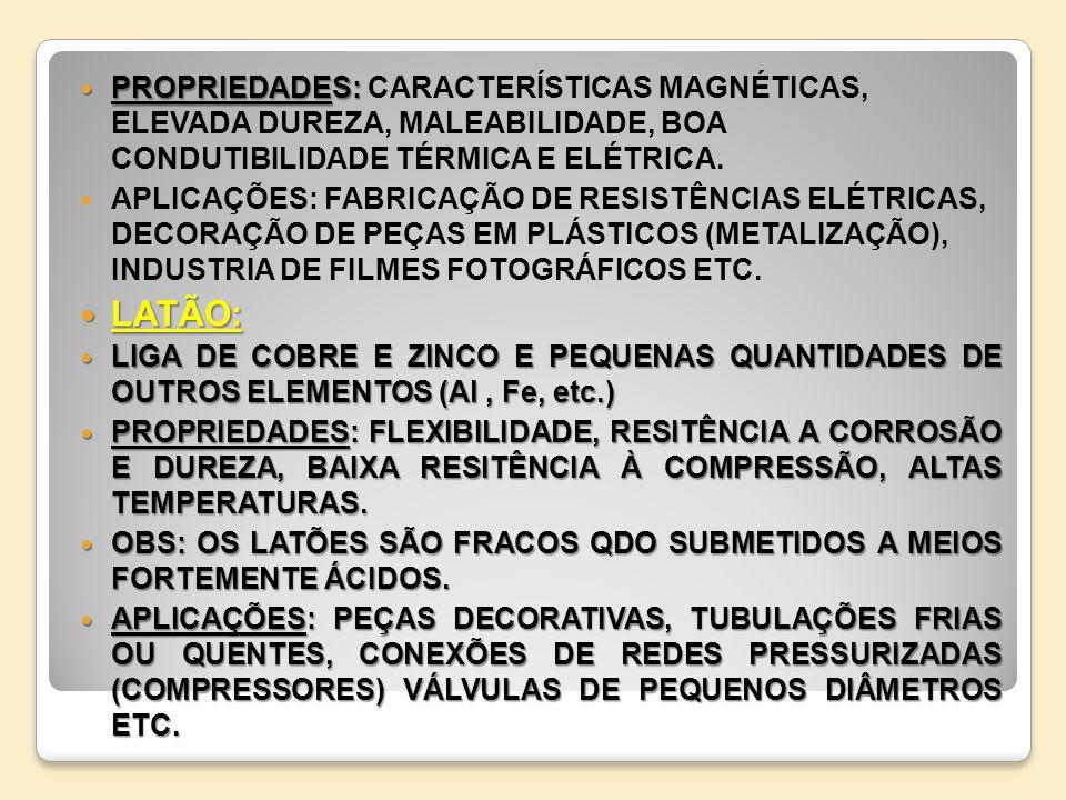 PROPRIEDADES: CARACTERÍSTICAS MAGNÉTICAS, ELEVADA DUREZA, MALEABILIDADE, BOA CONDUTIBILIDADE TÉRMICA E ELÉTRICA.