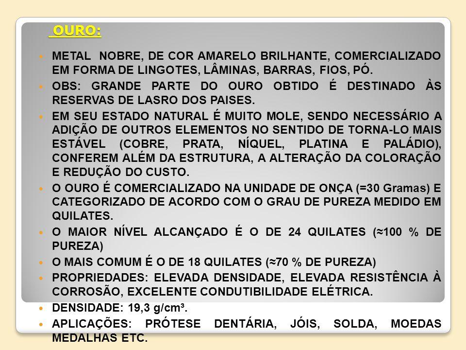 OURO: METAL NOBRE, DE COR AMARELO BRILHANTE, COMERCIALIZADO EM FORMA DE LINGOTES, LÂMINAS, BARRAS, FIOS, PÓ.