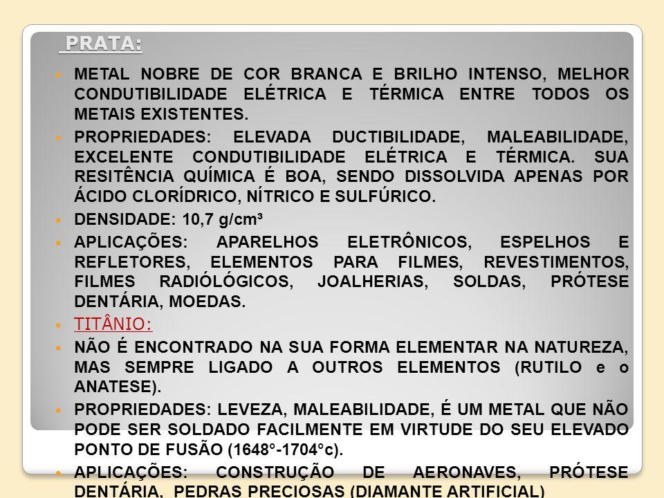 PRATA: METAL NOBRE DE COR BRANCA E BRILHO INTENSO, MELHOR CONDUTIBILIDADE ELÉTRICA E TÉRMICA ENTRE TODOS OS METAIS EXISTENTES.
