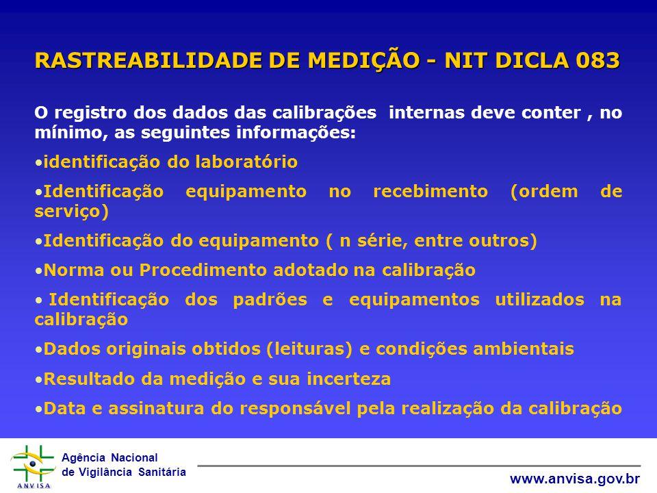 RASTREABILIDADE DE MEDIÇÃO - NIT DICLA 083