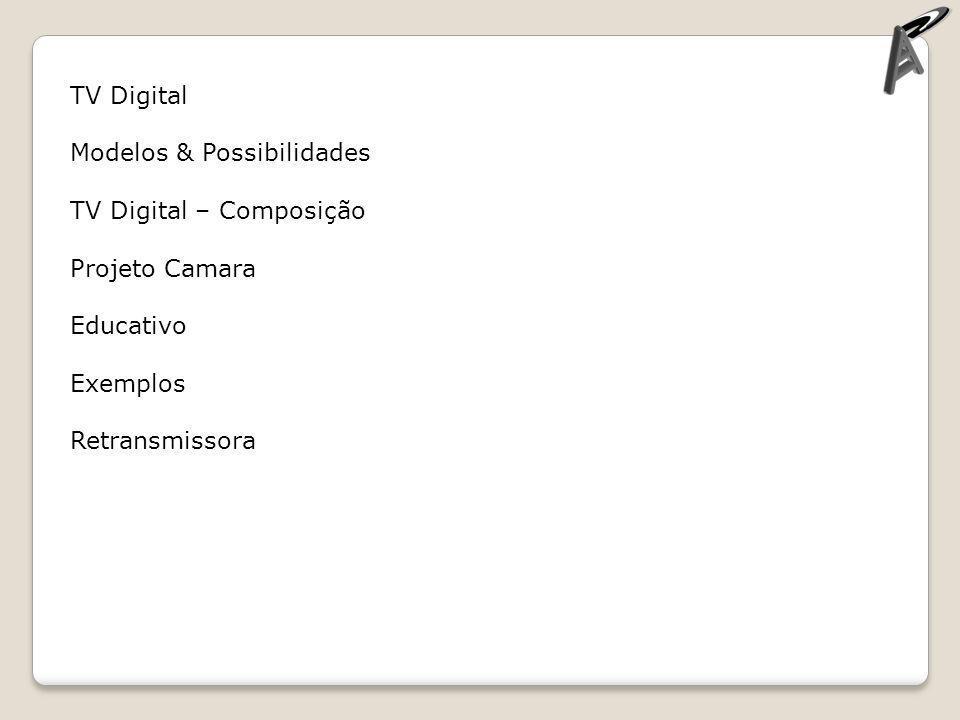 TV Digital Modelos & Possibilidades. TV Digital – Composição. Projeto Camara. Educativo. Exemplos.