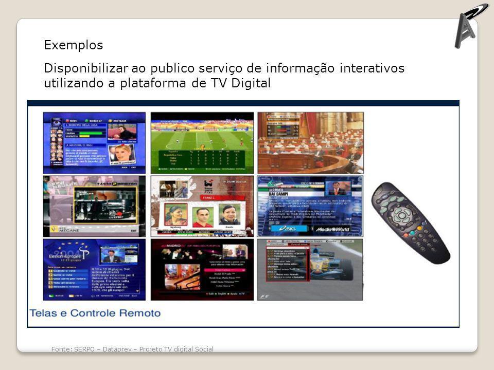 Exemplos Disponibilizar ao publico serviço de informação interativos utilizando a plataforma de TV Digital.