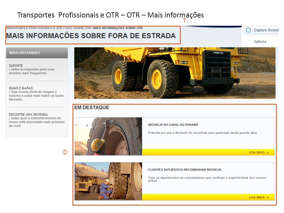 Transportes Profissionais e OTR – OTR – Mais informações