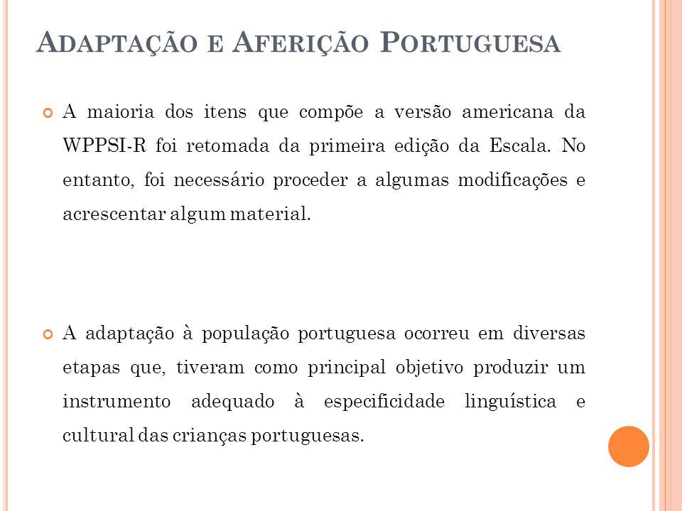 Adaptação e Aferição Portuguesa