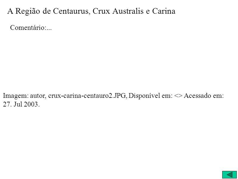 A Região de Centaurus, Crux Australis e Carina