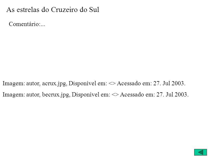 As estrelas do Cruzeiro do Sul