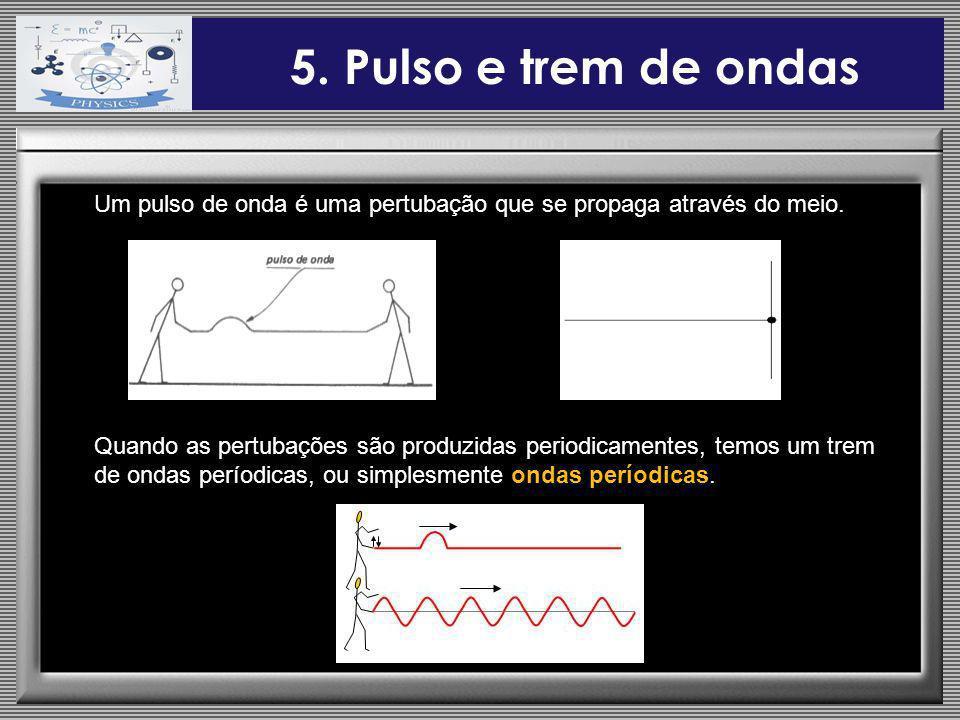 5. Pulso e trem de ondas Um pulso de onda é uma pertubação que se propaga através do meio.